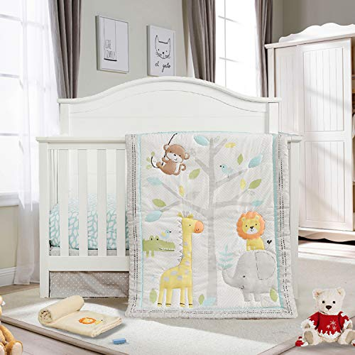 Honkaii Zoo Crib Bedding Set 4-Pcs for Kids with Comforter Fitted Sheet Crib Skirt Blanket, Machine Washable, Suitable for 28 x 52 Inch Cribs, Baby Nursery Bedding Sets for Boy&Girl(Gray)