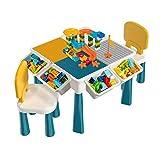 GLCS GLAUCUS Multiusos Mesa y Sillas para Bloques de Construcción Infantils Niños Pupitre Mesa de Arena y Agua Juego de Mesa con 405 Piezas Bloques