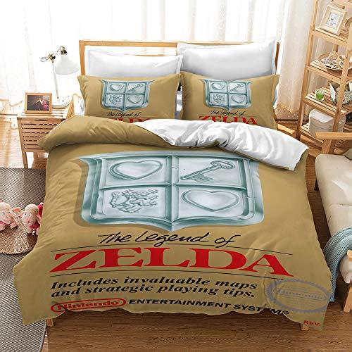 Aatensou The Legend of Zelda - Juego de funda nórdica y funda de almohada (2,135 x 200 cm y 50 x 75 cm)