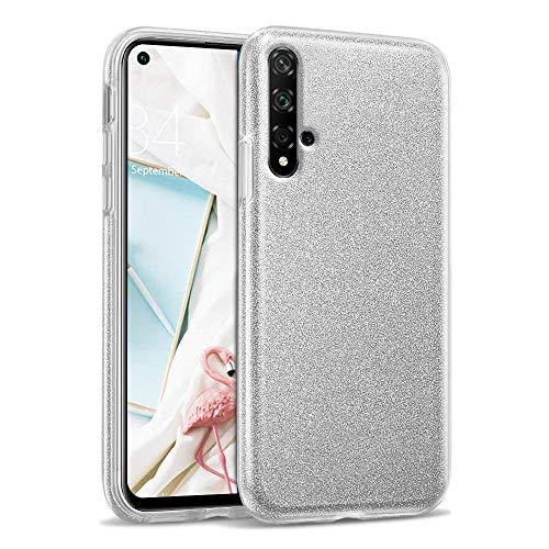 Kompatibel mit Huawei Nova 5T Hülle Glitter Glänzende Funkeln Bling Glitzer Handyhülle Weiche Silikon TPU & Hart PC 3 in 1 Gemischt Schutzhülle - Silber