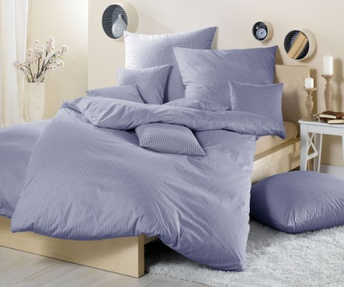 Lorena Textil Basel Maco-Batist Bettwäsche Baumwolle (dunkelblau, 155 cm x 220 cm + 80 cm x 80 cm Kissen) Vichykaro