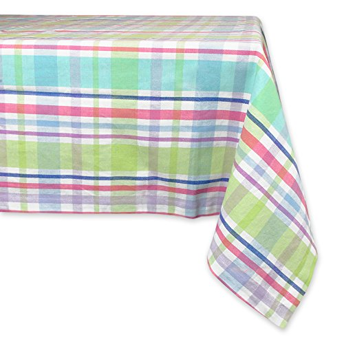 "DII 100% Cotton, Machine Washable, Easter, Dinner, Summer & Picnic Tablecloth, 60 x 84"", Spring Plaid, Seats 6 to 8 People"