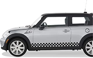 Bubbles Designs Set of Racing Checkered Flag Side Stripes Decal Sticker Graphic Compatible with Mini Cooper S Hatch Hardtop R50/53 R56 F55/56