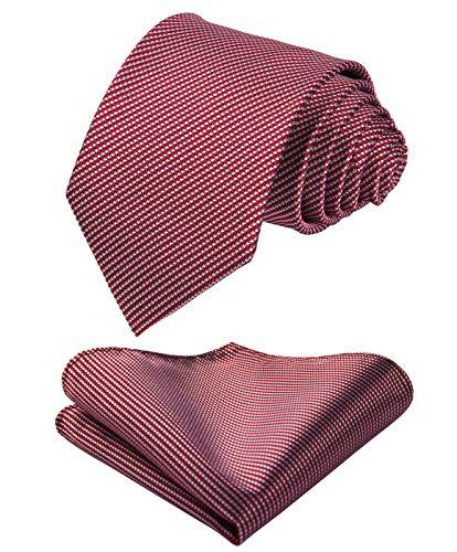 HISDERN Houndstooth Hochzeitsfest Krawatte der Manner Taschentuch Krawatte & Einstecktuch Set