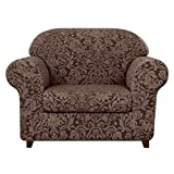 subrtex Sofa Cover Couch Cover 2-Piece Jacquard Damask Christmas Slipcovers with Seat Cushion Stretch Furniture Protector Chair Covers for Living Room Kids, Pets(Small,Brown)