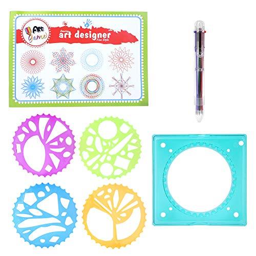 ohcoolstule Juego de espirografía,Kit de plantillas educativas,Pintura multifuncional geométrica regla de dibujo herramientas de aprendizaje de niños