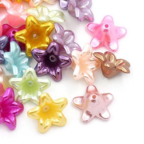 HOUSWEETY 200 Mix Acryl Blumen Spacer Perlen Beads Zwischenteile 13x13mm
