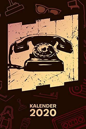 KALENDER 2020: A5 Vintage Terminplaner für 70er Party mit DATUM - 52 Kalenderwochen für Termine & To-Do Listen - Retro Telefon Terminkalender Vintage Telefon Jahreskalender 70er Jahre