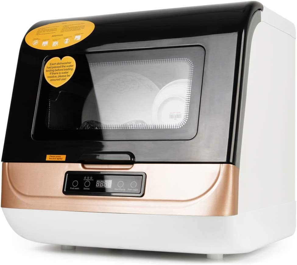 Portable Countertop Dishwasher,4 Washing Programs, Air-Dry Function and LED Light for Small Apartments, Dorms and RVs(Golden)