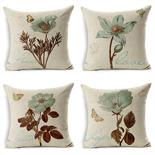 Gudotra 4pcs Funda de Cojín de Algodón de Lino en Flor Colorido Retro para Sofá Sala de Estar Dormitorio Cama Decorativo (45x45cm)