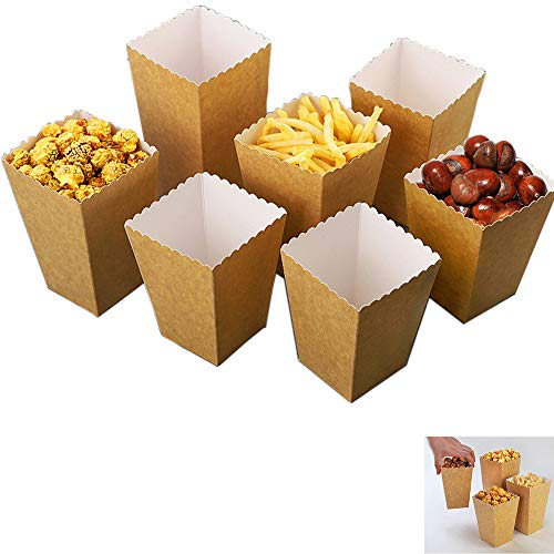 20 cajas de palomitas de maíz, bolsas de palomitas de maíz, hechas de papel Kraft, caja de dulces, cajas de dulces para fiestas, cumpleaños, bodas, regalos, películas, noche, bocadillos, dulces