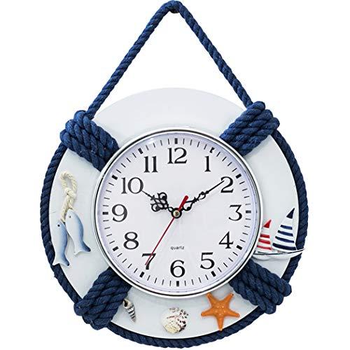 Reloj de Pared de Estilo mediterráneo Inicio Decoración de la Sala de Estar Volante Redondo de Madera Artesanía Decoración de la Pared para la Boda Jardín de la casa Azul Blanco