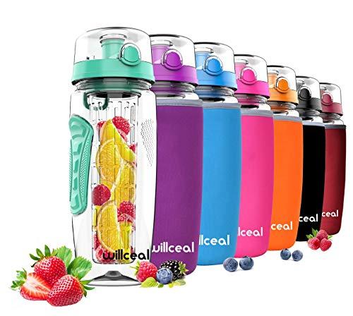 willceal Botella de Agua con Tapa para infusiones de Frutas, Resistente, con diseño a Prueba de Fugas, tamaño Grande, Ideal para Llevar Cuando Haces Deportes, para IR a Acampar (Menta Verde)