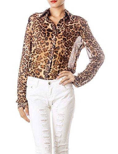 iB-iP Mujer Estampado Leopardo Tul Transparente Mangas Largas Botone Moda Camisa, Tamaño: 42, Marrón