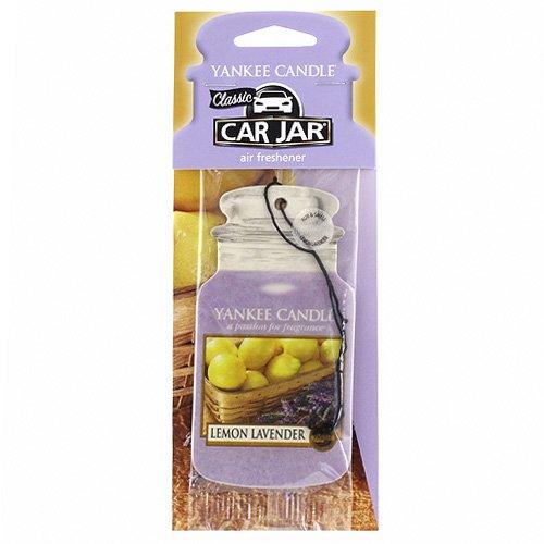 YANKEE CANDLE Classic Car Jar Profumatore per Auto Lemon Lavander, Cartone, Viola, 7.6x19.7x0.7 cm