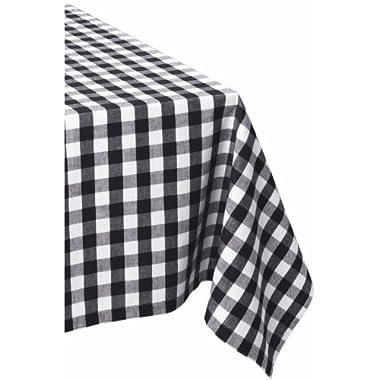 DII 60x84  Rectangular Cotton Tablecloth, Black & White Check - Perfect for Fall, Thanksgiving, Farmhouse Décor, Dinner Parties, Christmas, Picnics & Potlucks or Everyday Use