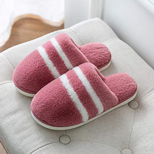 Nwarmsouth Slippers Unisex-Adulto,Pantuflas de Invierno Felpa, Calzados y Transpirables Zapatos de algodón-Cuero Rojo_39-40,Zapatillas Antideslizantes Comfort para Hombres y Mujeres