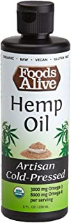 Foods Alive Organic Hemp Oil, Artisan Cold Pressed, 100% Pure Hemp Oil, Tastes Great, Healthy and Organic, 8oz