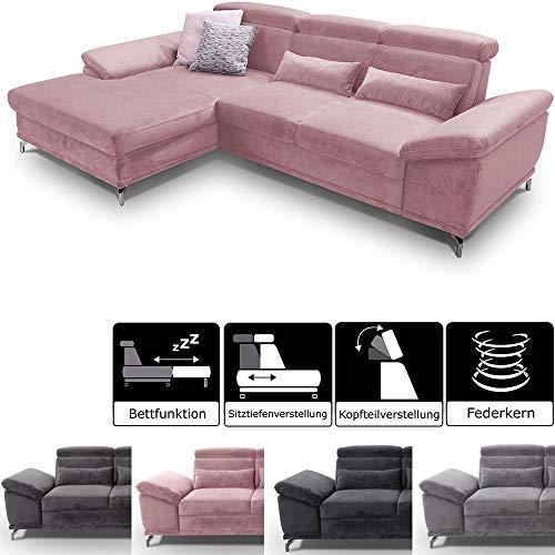 CAVADORE Sofahocker Capri / Beistellhocker gepolstert fürs Wohnzimmer/ Passend zum Ecksofa Capri mit XL-Longchair / 133 x 47 x 72 cm / Mikrofaser: Rosa