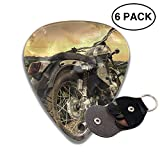 Silver Cruiser Motorcycle Guitar Picks Classic Celluloid Guitar Plectrums,6 Packs in Holder Case