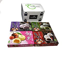 ✅Japanese Rice Cake Mochi Daifuku : Red Bean, Japanese Green Tea, Taro , and Lychee Mochi. Each box contains 7.4oz - Total 29.6 ounce ✅The top hit mochi/daifuku selections/Combination- loved by everyone. ✅Packed in Fusion Select Gift Box - Ultimate G...