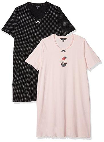 Ulla Popken Große Größen Damen Nachthemd Big-Shirt 2er Pack, Cupcake, Pink (Rose 56), 44 (Herstellergröße: 42+)