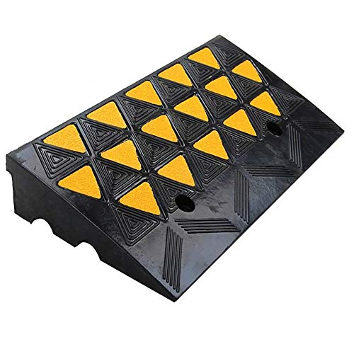 COFFEE CAT Reflective Rubber Curb Ramp, Load 8 T/17600 Lbs, Heavy Duty Industrial Rubber Sidewalk Curb Ramp, Forklifts Trucks Buses
