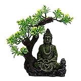 #N/A/a Creativo Tallado Resina Musgo Buda Estatuilla Acuario Escondite Paisaje Escena Refugio Ocultando Pecera Hogar Escritorio Adornos