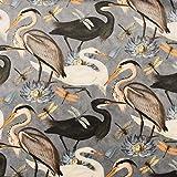 Samtstoff Dekostoff Velvet Samt Heron Bird Kranich Reiher