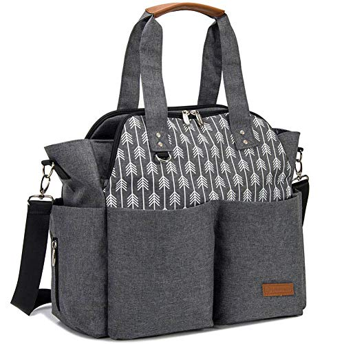 Lekebaby Baby Nappy Changing Bag Satchel Messenger Large Capacity, Arrow Print, Grey