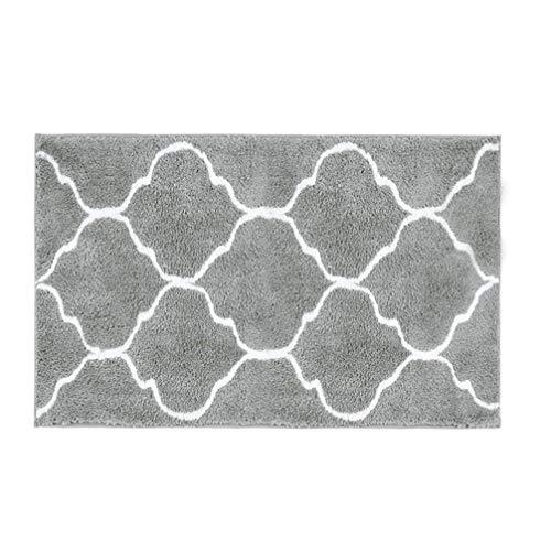 HEBE Microfiber Bathroom Rugs Mats Geometric, Non Slip Absorbent Bath Rugs Floor Mat Machine Washable, 20' W x 32' L
