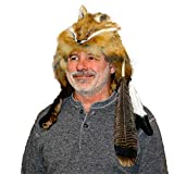 """Glacier Wear Red Fox Fur Mountain Man Hat with Feathers and Rosette (Large (22 5/8"""" – 23 ¼"""")) Tan"""