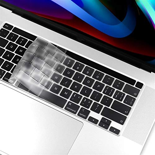 Keyboard Cover For Macbook newest pro 13 16 inch touch bar 2020 2019 A2251 A2289 A2141 US English Silicon Keyboard Cover clear Protector For Keyboard Cover protection (Color : Transparent)