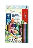 Staedtler 187 C12P1 Noris Colour Buntstift (erhöhte Bruchfestigkeit, Dreikantform, attraktives Design, ergonomische Soft-Oberfläche, Wopex Material, Set mit 16 brillanten Stiften im Kartonetui)