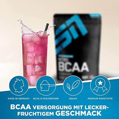 ESN Nitro BCAA Powder, Pro Series, Raspberry Ice-Tea, Beutel mit Dosierlöffel, 1er Pack (1 x 500g) - 2