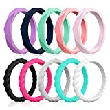 Silicone Wedding Rings for Women, 10-Packs Thin Rubber Wedding Bands Stackable Ring, Affordable, Fashion, Colorful, Comfortable fit, Skin Safe (6.5-7(17.3mm), 10 Colors Packs)