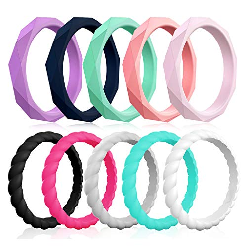 Silicone Wedding Rings for Women, 10-Pack Thin Rubber Wedding Bands Stackable Ring, Fashion Colorful Silicone Rings Women