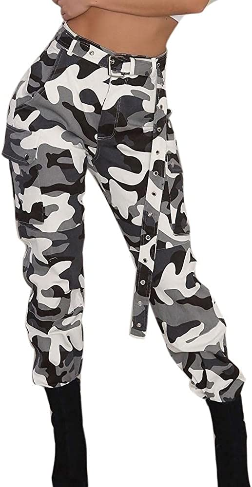 Womens Hip Hop Rock Trousers Casual Camo Cargo Pants Military Combat Camouflage Pants with Pockets S-3XL