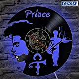 Prince photo Vintage Vinyl Record Clock Creative Handmade Antique Hollow CD LED Reloj de pared Classic Home Decor Hanging Clock