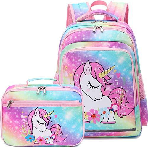 CAMTOP Girls School Backpack Rainbow Kids Backpack with Lunch Bag Preschool Kindergarten BookBag Set (Y0058-2 Unicorn - Rainbow)