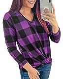 ORANDESIGNE Mujer Camisa de Franela a Cuadros, Manga Larga C
