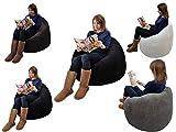 Beanbag Gamer corduroy Arm Chair Adult GAMING Bean Bag jumbo cord Game Seat TD (Black)