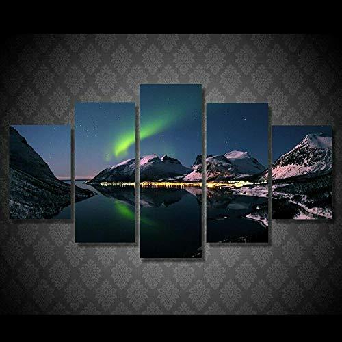 HGFDS Cuadros Paneles Lienzo murales Impresión 5 Piezas Material TejidonoTejido Deslumbrante Lago de montaña Aurora Impresión Artística Imagen GráficaDecoracion ParedWall StickerPaintings