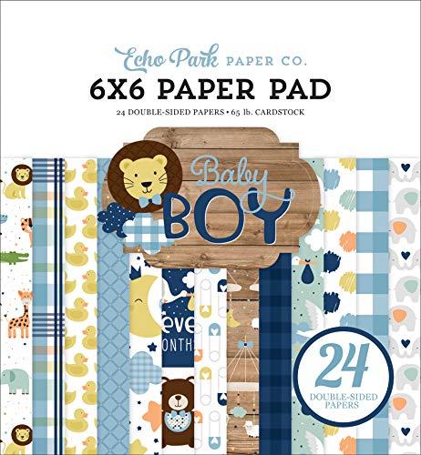 Echo Park Paper Company Baby Boy - Papel para bebé (6 x 6 cm), color azul, verde, verde menta, amarillo