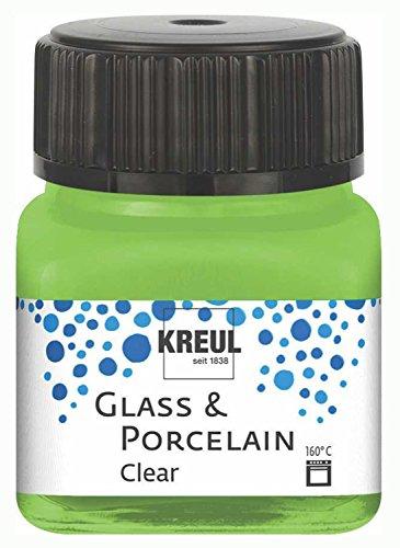 Kreul 16297 - Glass & Porcelain Clear apfelgrün, im 20 ml Glas, transparente Glas- und Porzellanmalfarbe auf Wasserbasis, schnelltrocknend, glasklar
