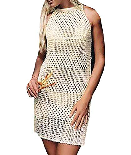Bestyou Women's Long Sleeve Lace Crochet Bikini Cover up Tunic Beach Dress (Beige)