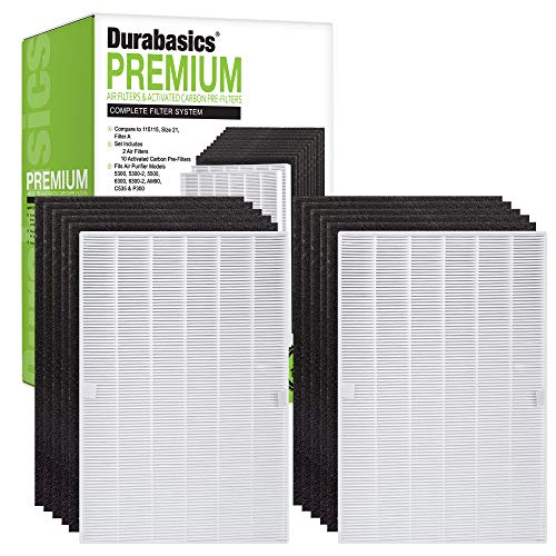 Durabasics True HEPA Filter Set Compatible with Winix C535 Replacement Filter - 2 Filters & 10 Pre-Cut Carbon Pre Filters - Compatible with Winix 5500-2 Air Purifier Filter Replacement & C535