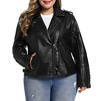 S P Y M Women's Casual Plus Size Faux Leather Fashion Quilted Moto Jacket
