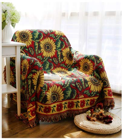 Vintage Sunflower Sofa Throw Blanket Jacquard Tassels Sofa Chair Cover Armchair Cover Couch Towel Cotton Warm Slipcover Table Cloth Carpet Bed Baby Blanket Double Side Camping Beach Blanket Decor