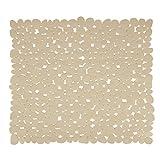 MSV Alfombra de Ducha, Diseño Piedras, Plástico y PVC, Beige, 53x53x1 cm